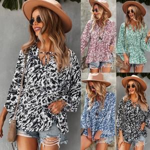 European and American fashion women's printed loose top 2021 Amazon long-sleeved shirt
