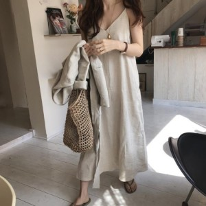 Korean chic style sling cotton and linen solid color design loose dress cool summer long