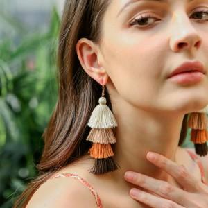 Handmade tassel earrings female European and American ethnic style long earrings bohemian fashion earrings jewelry   (note:order 1 ship one)