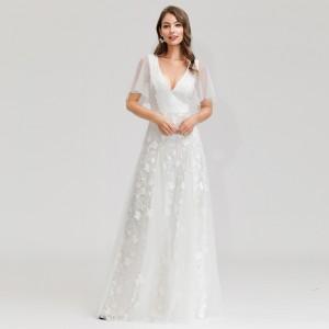 Light wedding dress deep v-neck lotus leaf short-sleeved embroidered lace mesh white wedding dres