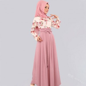New European and American women's ethnic long skirts Ramadan worship service Malay clothing Without headscarf