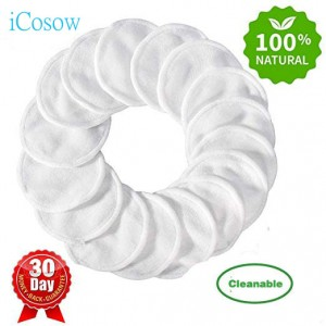 iCosow Reusable Make up Remover Pads 200 Pcs - Washable Eco Friendly Bamboo Cotton Pads
